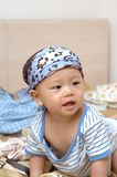 Cute baby portrait. It is a cute chinese baby, he is 8 months old Royalty Free Stock Photo