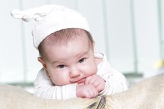 Cute baby portrait at home Stock Images