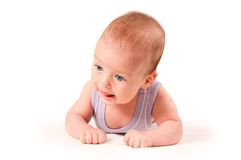Cute baby portrait isolated on white background Stock Photos