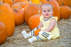 Cute Baby in Pumpkin Patch Royalty Free Stock Photos