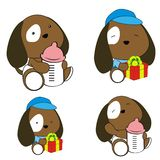 Cute baby puppy cartoon feeding bottle collection. Cute baby animal cartoon holding feeding bottle collectionin vector format very easy to edit vector illustration