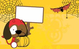 Cute baby puppy cartoon halloween costume background Stock Photo