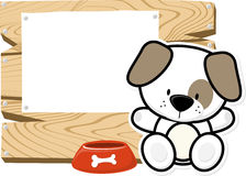 Cute baby puppy on wooden board Royalty Free Stock Images