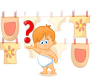 Cute baby with question mark Stock Photo