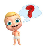 Cute baby with Question mark sign. 3d rendered illustration of cute baby with Question mark sign Royalty Free Stock Photo