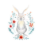 Cute baby rabbit animal for kindergarten, nursery isolated illu