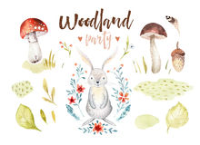 Cute baby rabbit animal nursery isolated illustration for children. Watercolor boho forest drawing, watercolour bunny. Image Perfect for nursery posters royalty free illustration