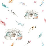 Cute baby rabbit animal seamless pattern, forest illustration for children clothing. Woodland watercolor Hand drawn boho Royalty Free Stock Photography