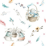 Cute baby rabbit animal seamless pattern, forest illustration for children clothing. Woodland watercolor Hand drawn boho. Image for cases design, nursery Royalty Free Stock Images