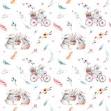 Cute baby rabbit animal seamless pattern, forest illustration for children clothing. Woodland watercolor Hand drawn boho Royalty Free Stock Photos