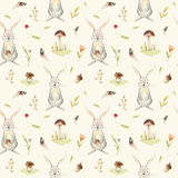 Cute baby rabbit animal seamless pattern for kindergarten, nursery isolated illustration for children clothing Royalty Free Stock Image
