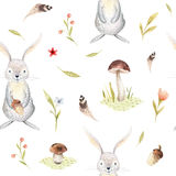Cute baby rabbit animal seamless pattern for kindergarten, nursery isolated illustration for children clothing Stock Photo