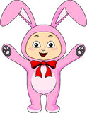 Cute baby in rabbit costume Royalty Free Stock Photo