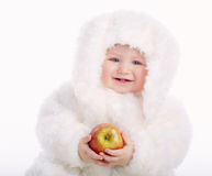 Cute baby with rabbit costume Stock Images