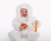 Cute baby with rabbit costume Stock Photo