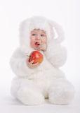 Cute baby with rabbit costume Royalty Free Stock Image