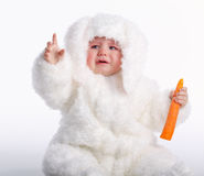 Cute baby with rabbit costume Royalty Free Stock Photos