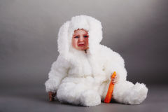 Cute baby with rabbit costume Royalty Free Stock Images
