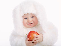 Cute baby with rabbit costume Stock Image