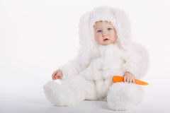 Cute baby with rabbit costume Stock Photos