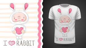 Cute baby rabbit - idea for print t-shirt vector illustration
