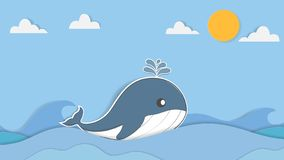 Cute whale pastel background and greeting card. cartoon an vector illustration