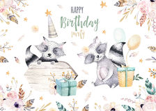 Cute baby raccon nursery animal isolated illustration for children. Bohemian watercolor boho forest raccons drawing Royalty Free Stock Photo