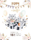 Cute baby raccon nursery animal isolated illustration for children. Bohemian watercolor boho forest raccons family Stock Photos