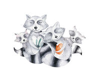 Cute baby raccon nursery animal isolated illustration for children. Bohemian watercolor boho forest raccons family Royalty Free Stock Images