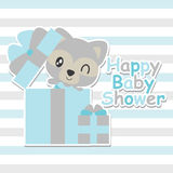 Cute baby raccoon in gift box  cartoon illustration for baby shower card design Royalty Free Stock Images