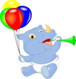 Cute baby rhino cartoon holding balloon Royalty Free Stock Photography