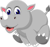 Cute baby rhino cartoon Royalty Free Stock Photos