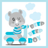 Cute baby rhino drives motorcycle vector cartoon illustration for baby shower card design Stock Images