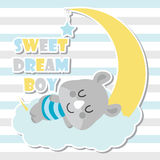 Cute baby rhino sleeps on cloud and moon vector cartoon illustration for baby shower card design Stock Images