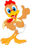 Cute baby rooster cartoon thumb up Royalty Free Stock Photos