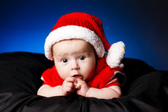 Cute baby with santa hat Royalty Free Stock Photography
