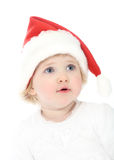 Cute baby in Santa's hat Stock Photo