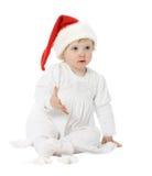 Cute baby in Santa's hat Stock Photo
