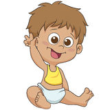 Cute baby say bye bye. Vector and illustration Royalty Free Stock Photo