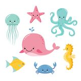 Cute baby sea fishes. Vector cartoon underwater animals collection. Jellyfish and starfish, ocean and sea life illustration royalty free illustration