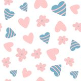 Cute baby seamless pattern with flowers and hearts. Drawn by hand. Girlish vector illustration stock illustration