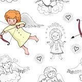 Cute baby seamless pattern with lovely doodle cupids isolated on white background. Vector illustration for Valentine`s Day concept design vector illustration