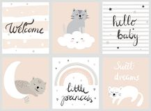 Cute baby set vector illustations for nursery or baby shower with cats,moon, cloud, stars stock illustration