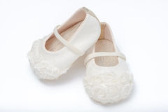 Cute baby shoes for girl kids on white background. Royalty Free Stock Photos