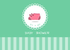 Cute baby shoes on greeting card,Design of baby shower cards Royalty Free Stock Photo
