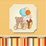 Cute baby shoher card with teddy bear Stock Images