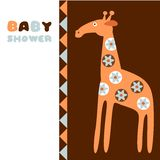 Cute baby shower birthday invitation card with giraffe,  illustration Stock Photo