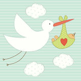 Cute baby shower card as retro fabric patch applique of stork and newborn baby. For your decoration Royalty Free Stock Images
