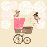 Cute baby shower card with baby carriage, royalty free illustration