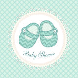 Cute baby shower card with baby shoes as retro fabric applique in shabby chic style Royalty Free Stock Images